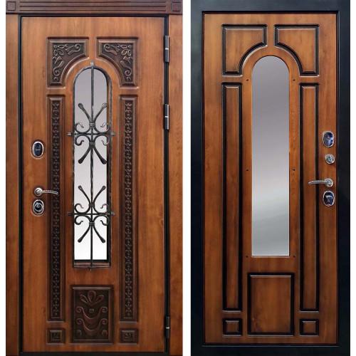 Уличная входная дверь с ковкой и стеклопакетом Cisa Лацио