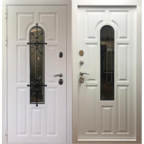 Уличная входная дверь с ковкой и стеклопакетом Cisa Лион