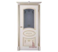 Дверь межкомнатная БАГЕТ 3 ПО - Слоновая Кость Патина Золото